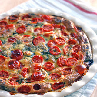 Tomato, Spinach, and Feta Crustless Quiche