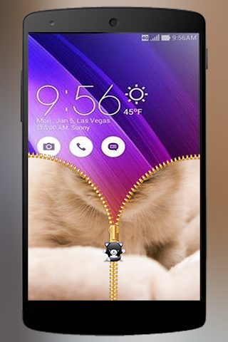 android Lovely Cat Zipper Lock Screenshot 5