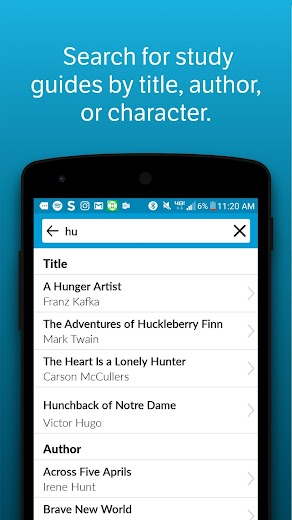 Screenshot 2 for SparkNotes's Android app'