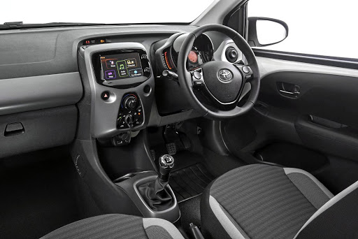 The interior of the Aygo now has a touchscreen infotainment system and some additional leather touches. Picture: MOTORPRESS