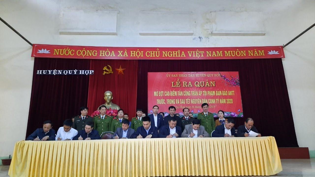 Các xã của huyện Quỳ Hợp kí cam kết đảm bảo ANTT dịp Tết