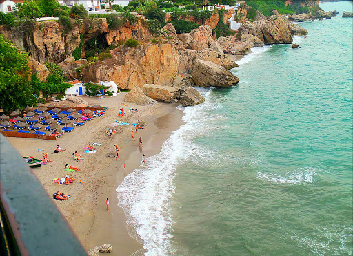 Nerja is a scenic beach near Málaga, Spain, on Costa del Sol.