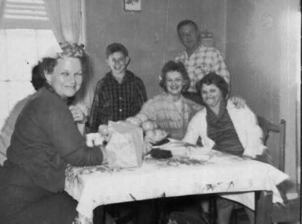 The Family Enjoyed Many Good Meals In This Kitchen. L-r, Granny, Joe Wiegman, Jimmy Morgan, Jean Wiegman (mom), H.v. Morgan, Sue Wages.