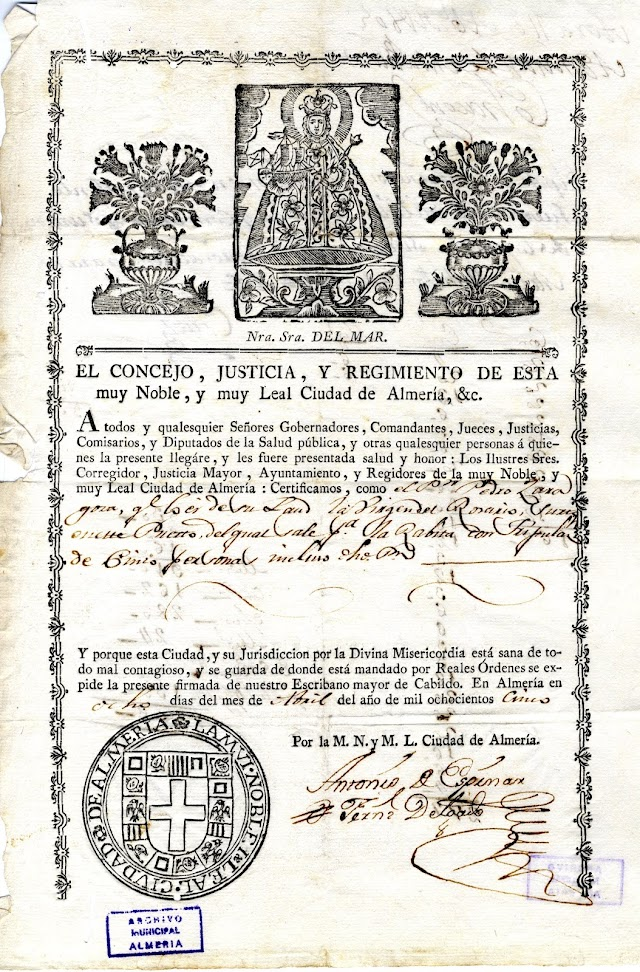 Patente de 1805 encabezada por la pretendida Virgen del Mar, incluyendo como atributo un barco.