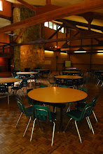 Photo: Tsani Dining Hall can accomodate groups of 150. Each table seats 8.