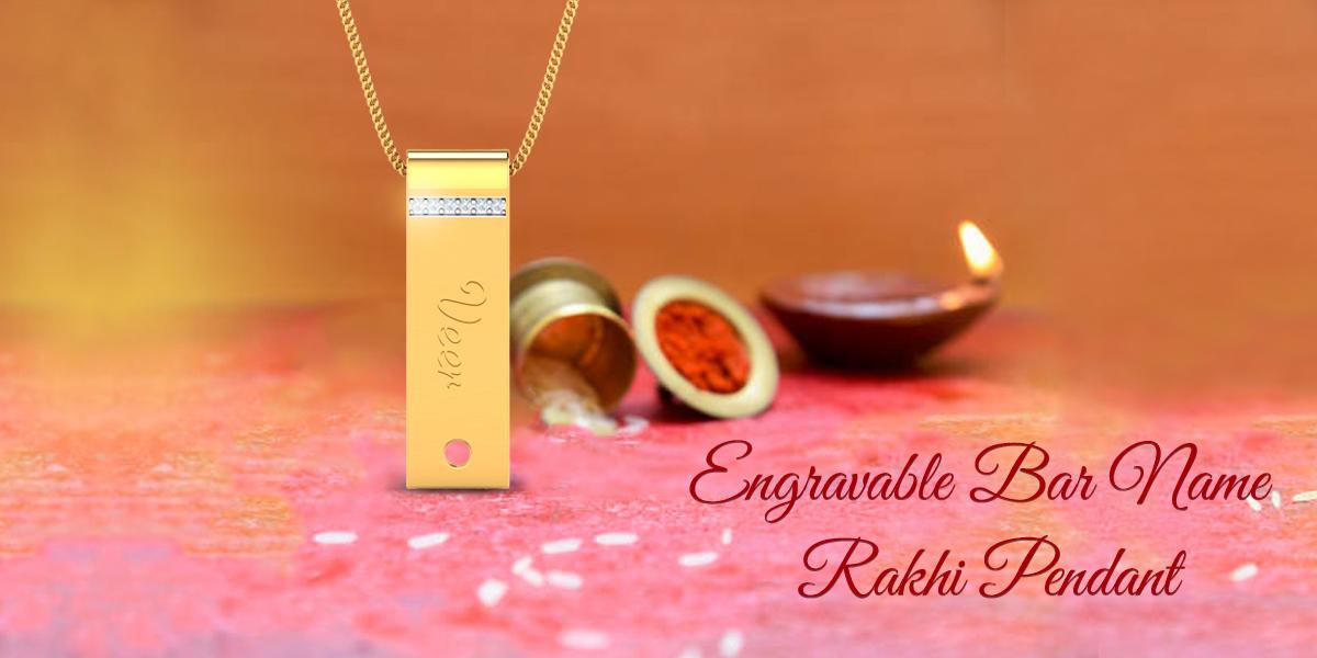 gold bar name rakhi pendant