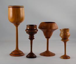 Photo: Lou Berson - assorted goblets [Cuban mahogany, Norfolk island pine]
