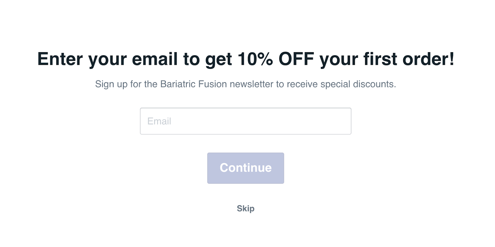 Screenshot of Bariatric Fusion's quiz that asks for the customer's email to give them 10% off their order