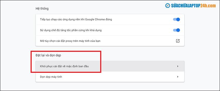 Click chọn Khôi phục cài đặt về mặc định ban đầu