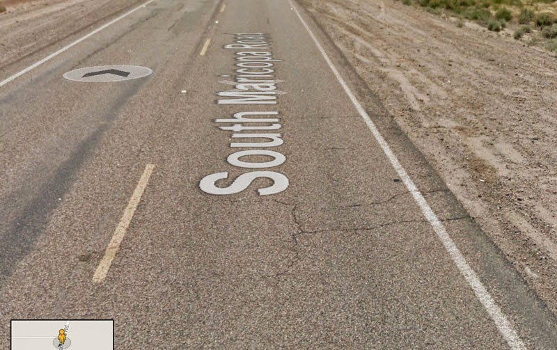 Photo: Remember, not all roads have shoulders, and not all roads with shoulders have paved shoulders. This two-lane highway has a wide, graded, dirt/gravel shoulder. Maricopa Road; near the Wild Horse Pass Casino.