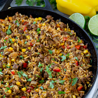 Tex Mex Beef & Rice Skillet Recipe