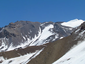 Photo: The 2 paths: ascending on left in snow but not enough. We will pass on right side...