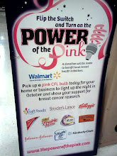 Photo: Power of Pink.  Pick up a pink CFL bulb and a potion will be donated to breast cancer research.