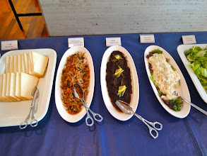 Photo: Breakfast in japan: bread, carrot and burdock salad, potato salad, salad salad.