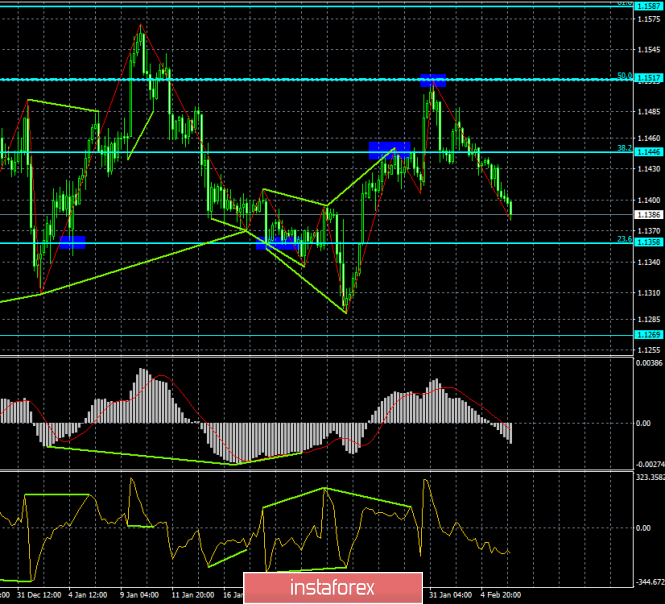 Analysis of the divergence of EUR / USD on February 6. Euro falls again to its annual lows.