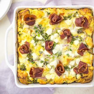 Overnight Broccolini & Goat Cheese Strata with Crispy Prosciutto Recipe
