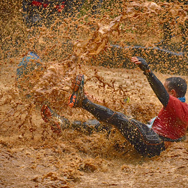 by Marco Bertamé - Sports & Fitness Other Sports ( water, muddy, red, splatter, splash, strong, brown, strongmanrun, soup, man )
