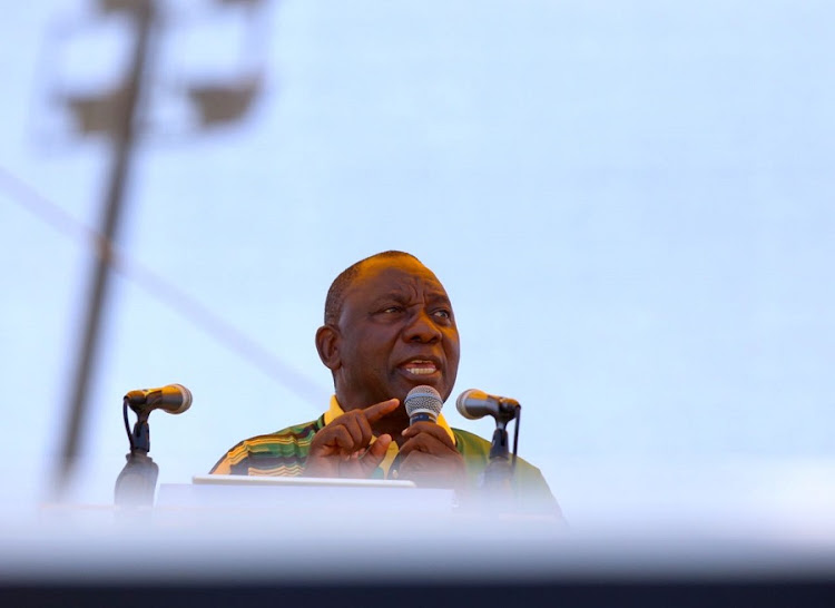 ANC president Cyril Ramaphosa delivering the ANC's national executive committee's January 8 statement in East London. Picture: DAILY DISPATCH