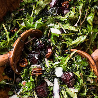 Crispy Kale Salad with Roasted Beets and Spicy Candied Pecans.