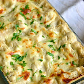 Skinny Chicken Alfredo Lasagna.