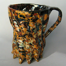 Photo: there are two of my test glazes splattered on this, the other 5 glazes are mudfire studio glazes.