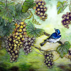 Grapes and Bird by Myong Dutton - Painting All Painting ( bird, purple, blue, vine, grape )