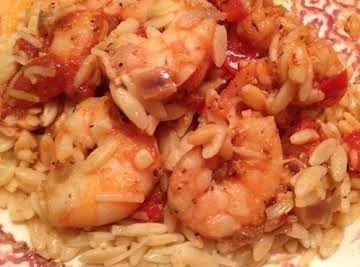 Spicy Garlic Shrimp over Orzo