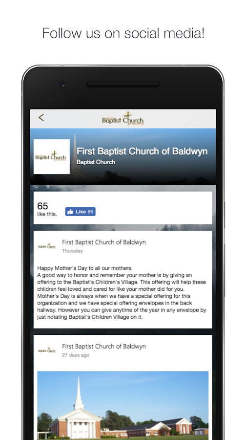 Baldwyn First Baptist Church- screenshot