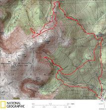 Photo: Saturday's tour: 6400' vertical and ~15.5 miles distance, with a high point just 800' shy of the summit. (Note that the ski & skin routes are approximate for the Chandler Ridge snowfield, except for start and end points. Nelson Crag snowfield though is from the GPS track log. And yes, the USGS quad really is that far off for Raymond Path!)