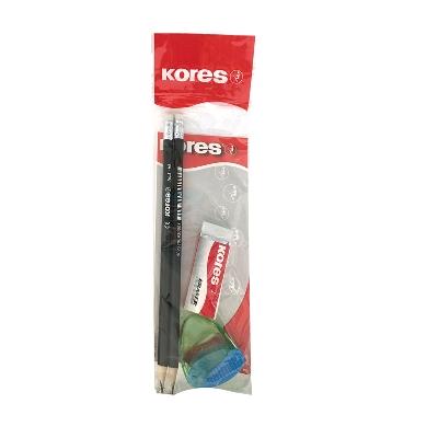 lapiz de grafito kores + saca puntas snappy + borrador