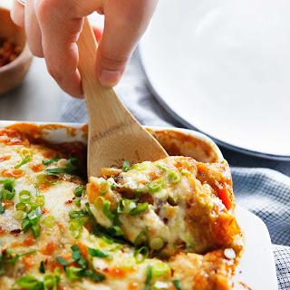 Spaghetti Squash Enchilada Casserole (with Chicken).
