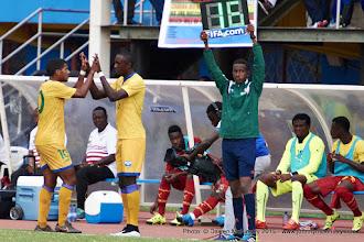 Photo: Quentin Rushenguziminega (10) is replaced by Ernest SUGIRA (16) [Rwanda Vs Ghana AFCON2017 Qualifier, 5 Sep 2015 in Kigali, Rwanda.  Photo © Darren McKinstry 2015