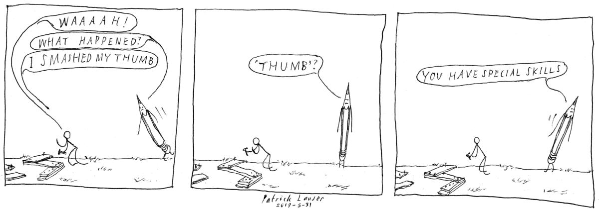 "A HANGMEN cartoon strip about a stick figure smashing his ""thumb""."