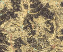 Photo: Na mape 1.vojenskeho mapovani (1780) je pekne videt snurka rybniku na potoce od Popovic az po Sazavu. Hraze jsou v terenu dodnes patrne.  http://oldmaps.geolab.cz/