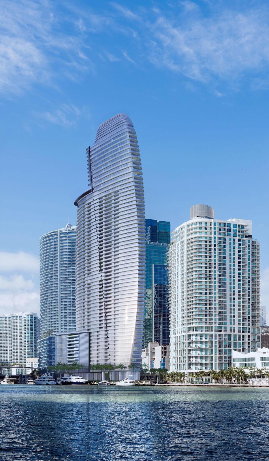 Aston Martin Residences Miami view from bay