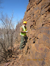 Photo: John getting an up close look at some of the geologic features.
