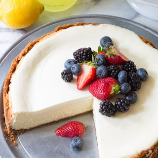 Limoncello Cheesecake with Biscoff Crust.