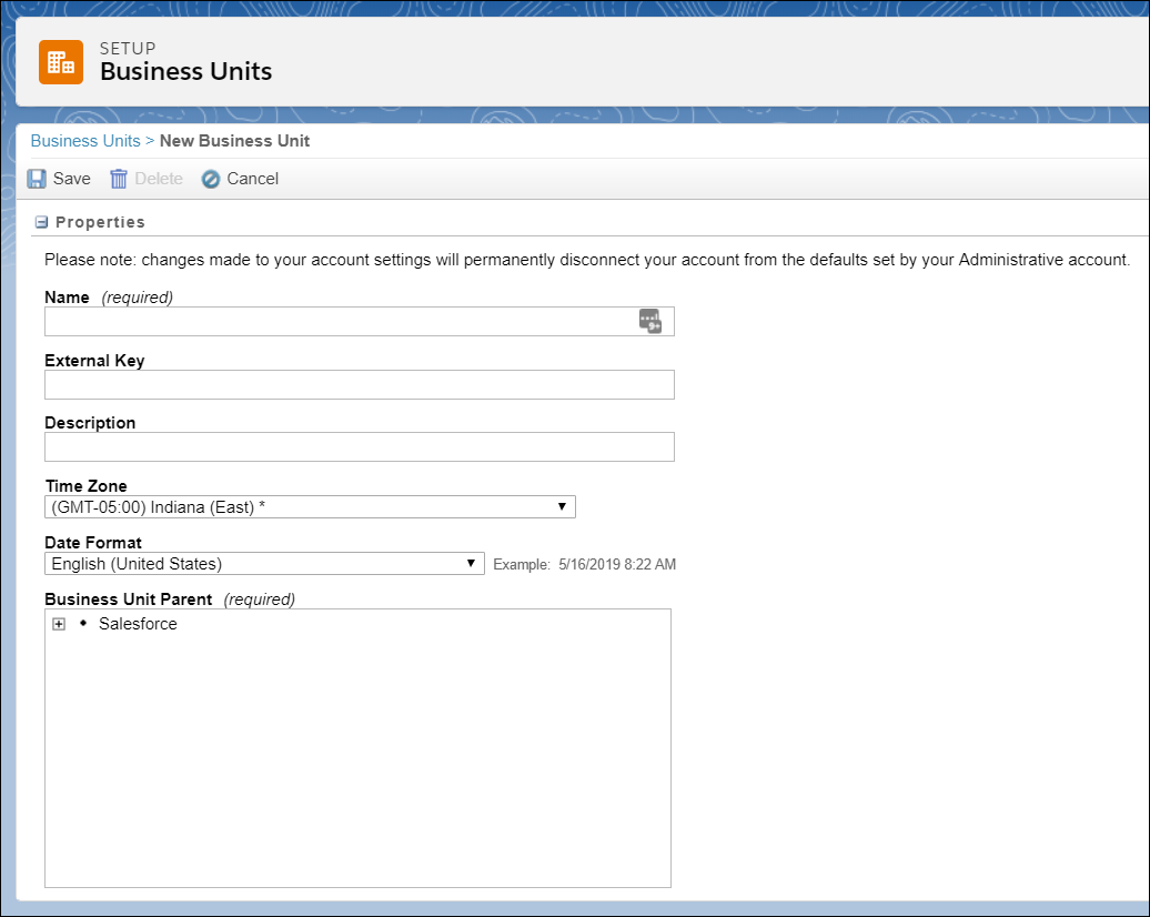 Create Business Unit interface.