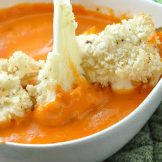 Waiter? There are balls in my soup. [Creamy Tomato Soup with Baked Mozzarella Balls].
