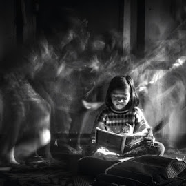 concentration by Arubam Meitei - Digital Art People ( reading, girl, black and white, street, people,  )