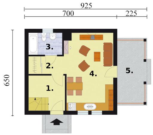 Orlean 2 dom letniskowy z poddaszem szkielet drewniany - Rzut parteru
