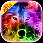 3D Wild Neon Wolf Theme Icon