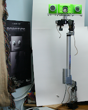 Photo: Profile Picture of my Snow Droid's head and shoulder structures with prototype 3D printed head compartments (production will be a nice Red color). She's next to her favorite robot, Adabot!