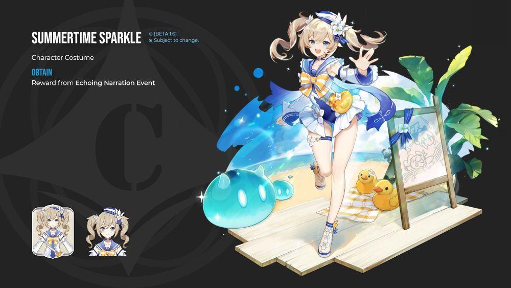 อัปเดตสกินใหม่ชุดว่ายน้ำ 2 ตัวละครในเกม Genshin Impact  สุดน่ารัก Barbara x Jane   2