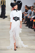 Photo: Ralph Lauren dress from Spring 2013 fashion show. It reminds me of My Fair Lady. I love the black and white look. http://www.harpersbazaar.com/fashion/fashion-articles/ralph-lauren-flamenco-ruffles-new-york-fashion-week-spring-2013-looks#slide-58