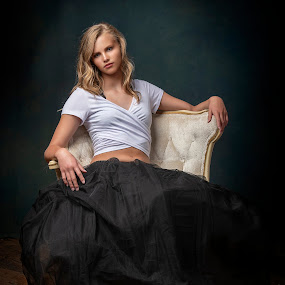 Just Chillin by Chuck Mason - People Portraits of Women ( black dress, studio portrait, white top, nikon 850, portrait, white chair, woman portrait )