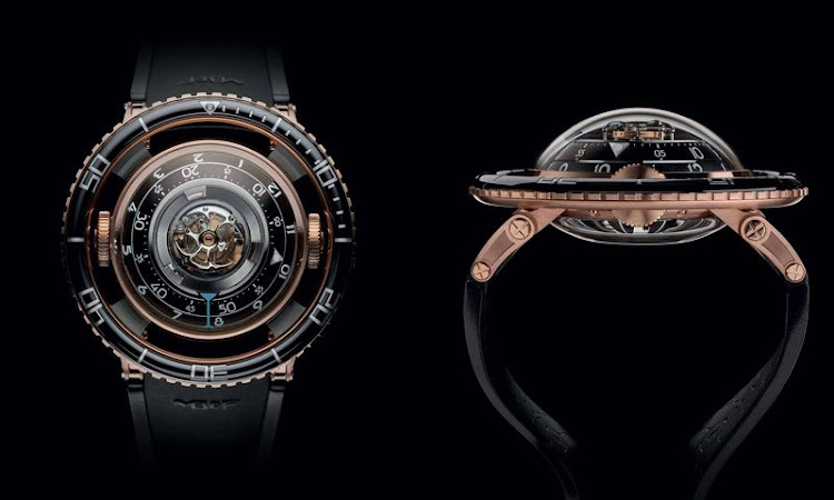Front and side views of the new MB&F Horological Machine 7.Source: MB&F
