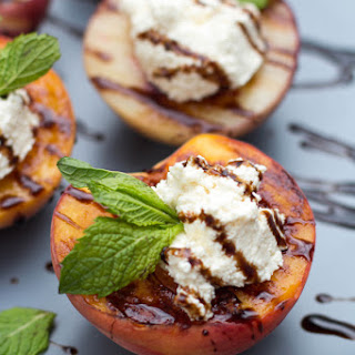 Grilled Peaches with Ricotta and Balsamic Glaze.