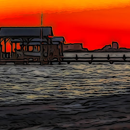 Digital Pier by Dave Walters - Digital Art Places ( sony hx400v, sunset, boat house, water, colors, digital art )