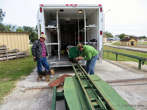 Photo: Ed Rains watching Tomas Sandoval unload one of his five Tex Mex passenger cars.      HALS / SWLS 2013-1108  RPW